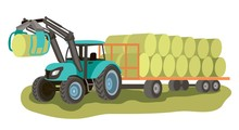 Tractor With Loader And Bales ...