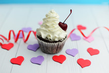 Beautiful Little Cake Cupcake With Cream With Hearts