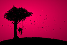 Lover Couple Sitting Together On Swing In Romantic Scene Under The Big Tree . Valentine's Day And Love And Anniversary Theme.
