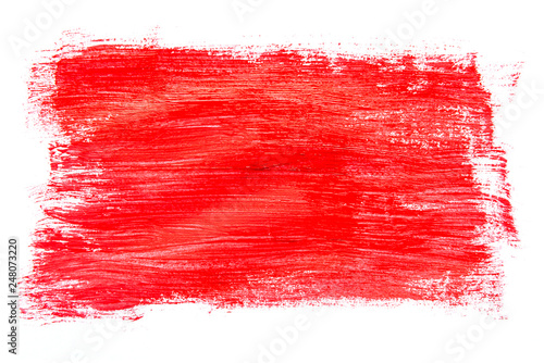 Fototapety, obrazy: Abstraction for background, rectangular pattern with red paint on white isolated background