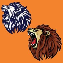 Roaring Lion Set Logo Cartoon Vector Design Template