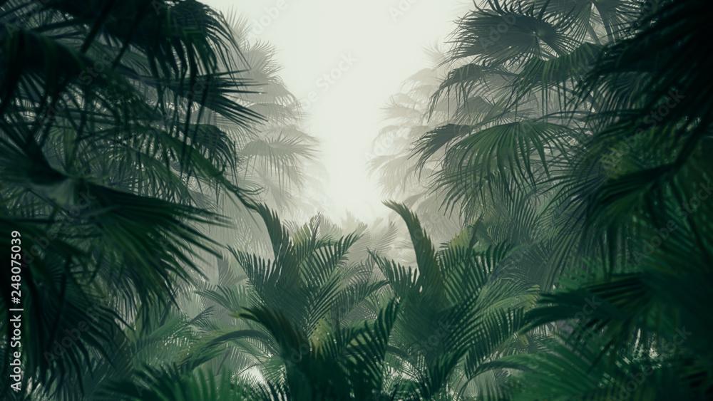 Fototapeta 3D illustration Background for advertising and wallpaper in jungle scene. 3D rendering in decorative concept