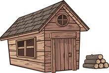 Cartoon Wood Cabin Clip Art. V...