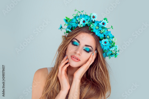 Beautiful Young Woman Smiling Model With Flowers On Head