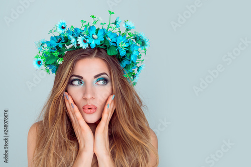 Wow Closeup Portrait Young Woman Beautiful Girl With Floral