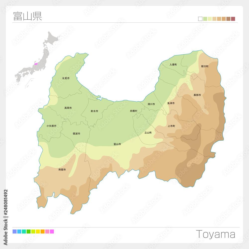 Fototapeta 富山県の地図(等高線・色分け・市町村・区分け)