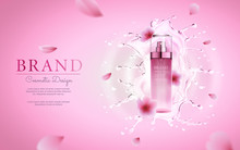 Cherry Blossom Cosmetic With Water Splashing For Promotional Pink Poster Template. Realistic 3d Vector Illustration.