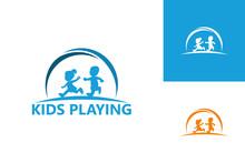 Kids Playing Logo Template Design Vector, Emblem, Design Concept, Creative Symbol, Icon