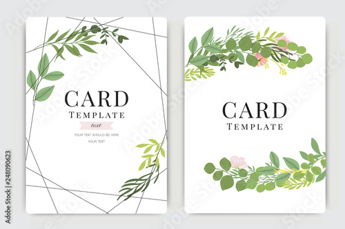 Fototapety, obrazy: Wedding Invitation, floral invite thank you, rsvp modern card Design in pink flower  with summer leaf greenery  branches decorative Vector elegant rustic template