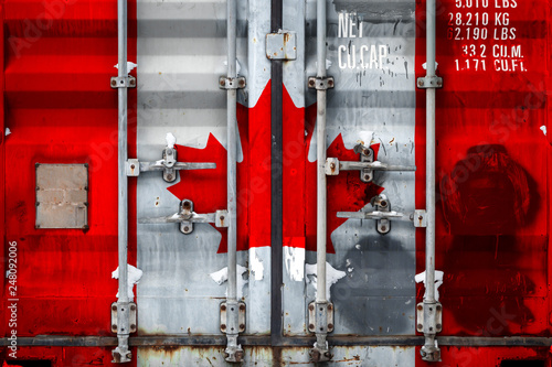 Photo  Close-up of the container with the national flag of Canada