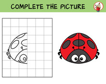 Complete The Picture Of A Ladybug. Copy The Picture. Coloring Book. Educational Game For Children. Cartoon Vector Illustration