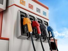 Modern Fuel Pump On Blue Sky Background. 3D Illustration