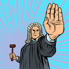 Judge With A Hammer Stop Gesture
