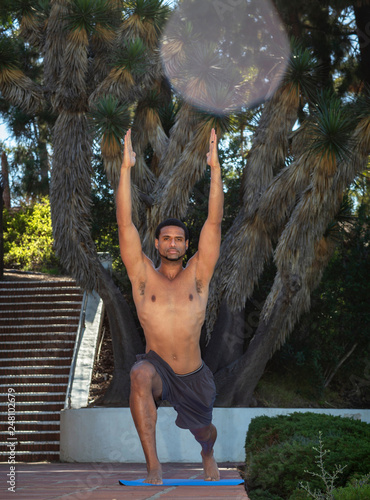 Fotografie, Obraz  Athletic Man Doing Yoga Outdoors in Warrior I Pose Facing Forward