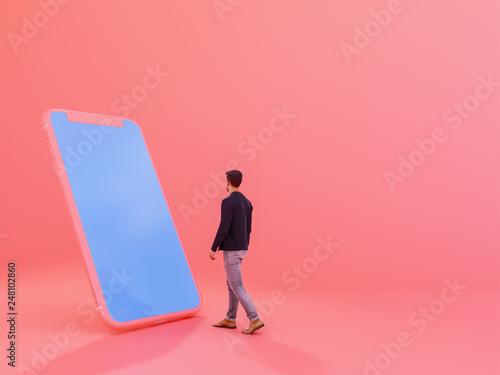 Fotografija man with mobile phone , 3d render
