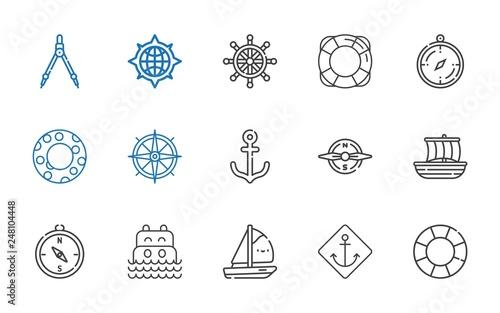 Fotografie, Tablou  nautical icons set