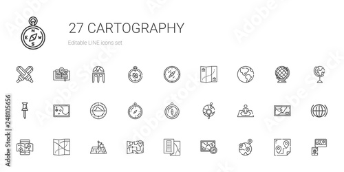 Cuadros en Lienzo cartography icons set
