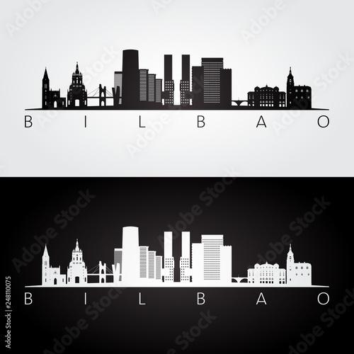 Bilbao skyline and landmarks silhouette, black and white design, vector illustration Wallpaper Mural