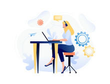 Online Assistant - Customer And Operator, Online Technical Support 24-7 For Web Page. Female Hotline Operator Advises Client, Virtual Help Service. Flat Concept Vector Illustration