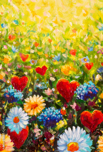 Poster Kaki painting flower and red hearts modern colorful wild flowers red heart canvas abstract close paint impasto oil - Impressionism modern oil paintings fragment