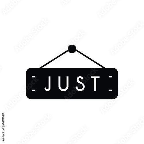 Fotografie, Obraz  Black solid icon for just tag label
