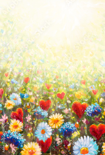 Poster Kaki Flower White yellow blue wildflowers daisies and red hearts of lovers - romantic landscape oil hand made painting, Love concept. Background for Postcard beloved for wedding and Valentine Day lovers.