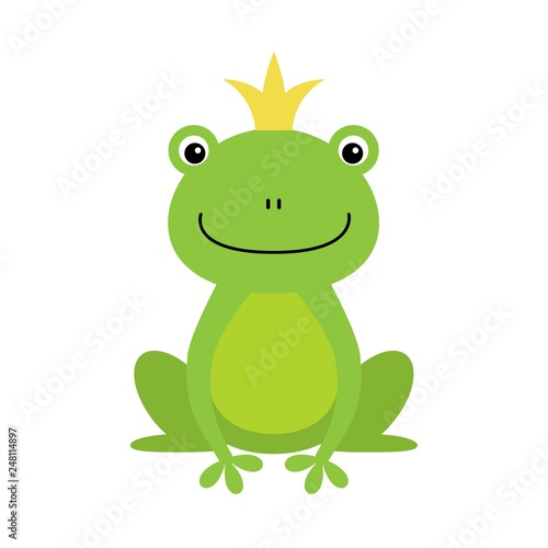 illustration of isolated frog prince on white background
