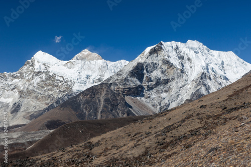 Fotografie, Obraz  Island Peak or Imja Tse and Makalu view on the way to Everest Base Camp in Sagarmatha National Park, Himalayas, Nepal