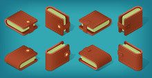 Set Of Isometric Wallets From Different Angles. Brown Leater Pouch Filled With Money. Purse Case For Coins. Banknotes, Credit Cards. 3D Isometric Objects On A Blue Background. Eps10 Vector
