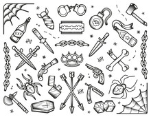 Old School Tattoos Set. Black Icons: Knifes, Bones, Bombs, Pistols. Hand Drawn Dotwork Isolated Illustration. Eps10 Vector