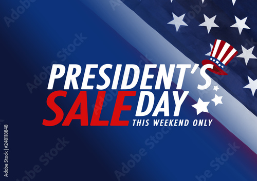 Fotografia  Presidents' Day Sale banner with american flag and stars background