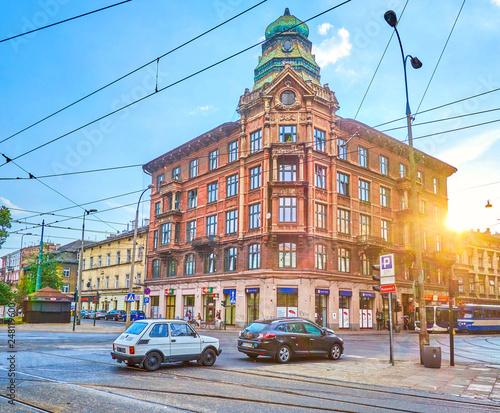 Fototapeta The old edifice on Krakowska street in Krakow, Poland obraz