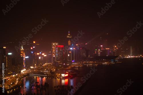 Foto op Aluminium Volle maan Hong Kong habour by Night