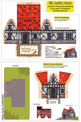 Country house - a model for cutting and assembling  For the