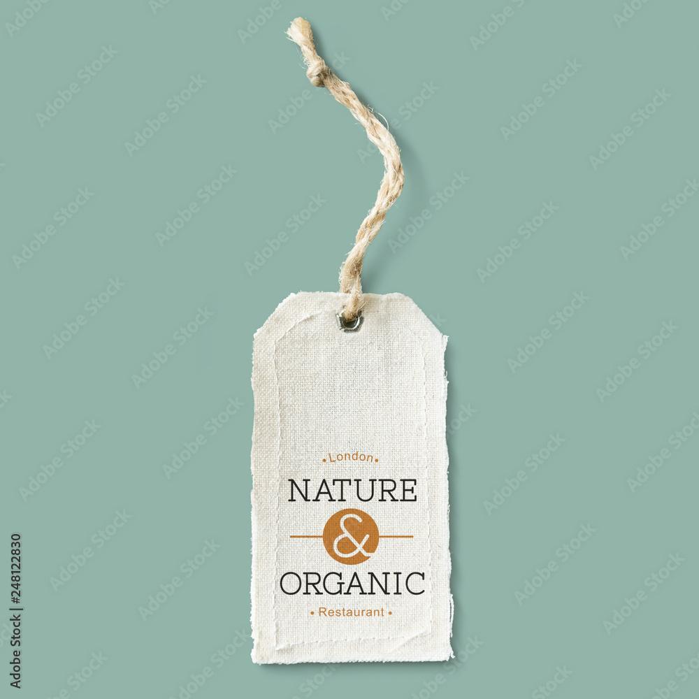 Fototapeta Natural cotton cloth label mockup