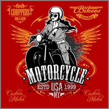 Beautiful Girl On A Motorcycle Draw In Retro Style