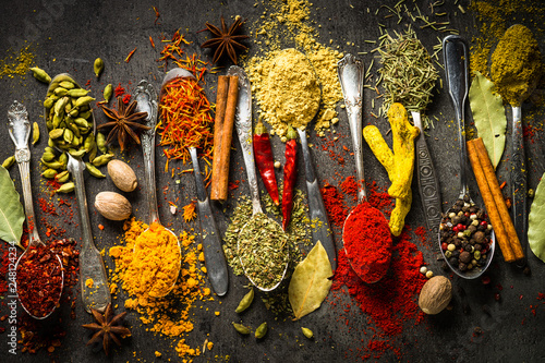 Printed kitchen splashbacks Spices Set of various spices in spoons on black background.