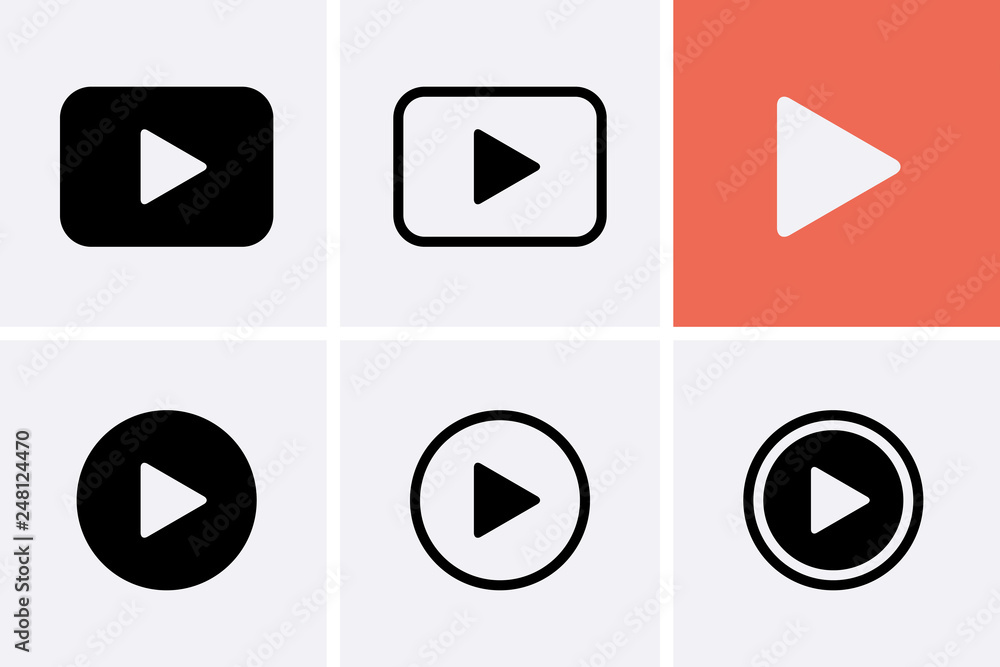 Fototapety, obrazy: Video camera Icon set, Play Vector.