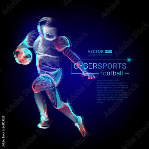 Abstract American Football Or Rugby Player Male Figure In