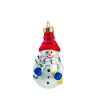 Red And Blue Christmas Toys Isolated On White Background. Snowman