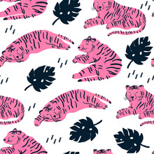 Pink Tiger Lies In Various Positions. Tropical Leaves. Hand Drawn Vector Seamless Pattern. Perfect For Textile Printing