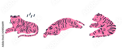 Pink tiger lies in three various poses. Hand drawn vector set. All elements are isolated
