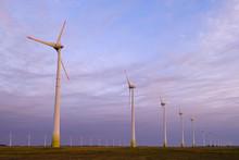 Wind Turbines Farm At Sunset, ...
