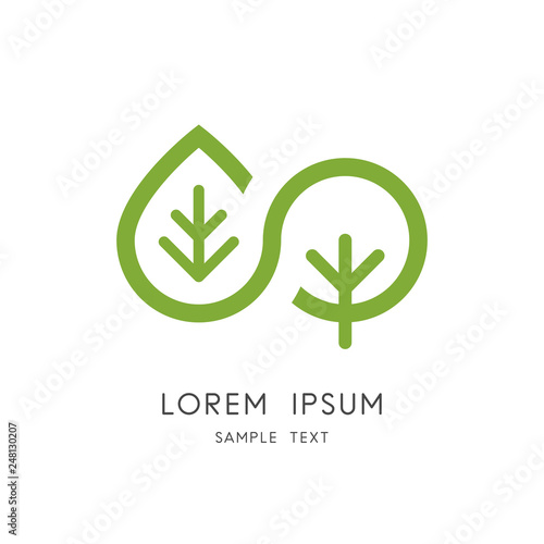 Leaf and tree logo - plant and sprout symbol. Infinity nature and vegetative reproduction, ecology and environment vector icon. Wall mural