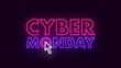 Glowing Neon Cyber Monday Sale Sign 4K Futuristic Animation. Big Discount Day Promotion Retro Banner on Computer Electronic Goods Online Shop On A Dark Purple Background.