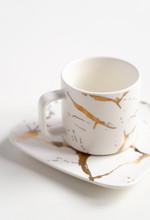 White Mugs With A Saucer. Cups...