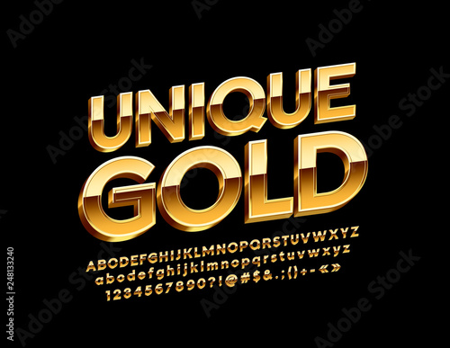 Vector Unique Gold Alphabet Letters, Numbers and Symbols, Glossy 3D Font Canvas-taulu