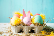 Cute And Funny Easter Eggs In A Egg Box