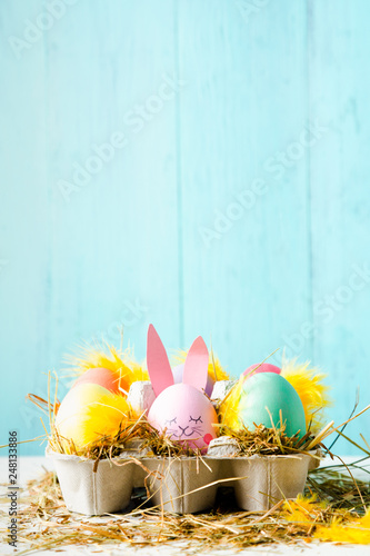 Cute easter eggs composition with copy space