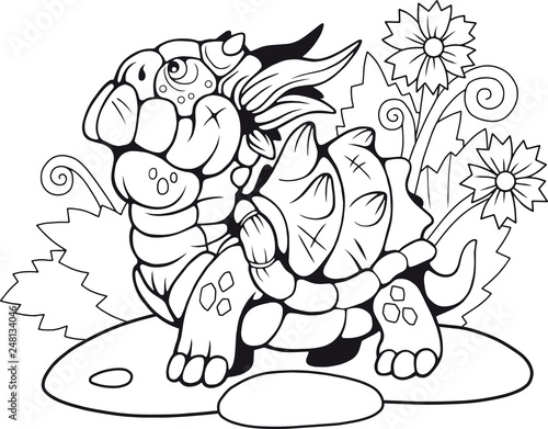 cute little cartoon turtle dragon, coloring book, funny illustration ...